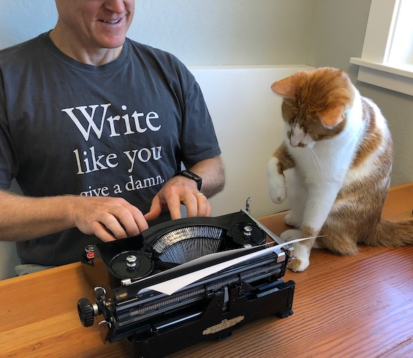 Write Like You Give a Damn with typewriter (and cat)